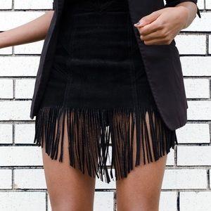 Skirts - Vintage Suede Fringe Skirt